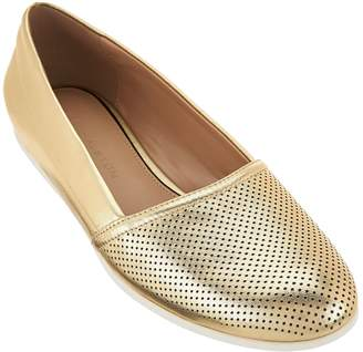 Halston H By H by Perforated Leather Slip-On Shoes - Leah