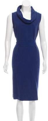 Agnona Belted Silk Sleeveless Dress