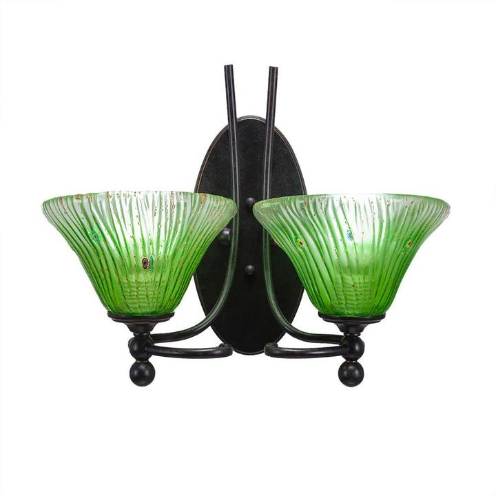 Cambridge Silversmiths Cambridge 2-Light Dark Granite Sconce with Kiwi Green Ribbed Glass