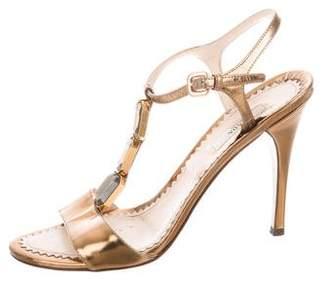 Prada Metallic Embellished Sandalss