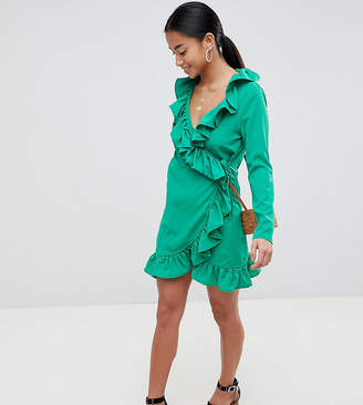 boohoo Petite Wrap Front Frill Dress