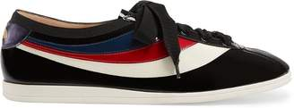 Gucci Patent leather low-top sneaker with Web