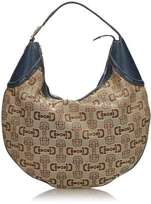 Gucci Pre-Loved Brown Beige Canvas Fabric Horsebit Glam Hobo Bag Italy