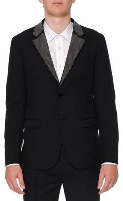 Alexander McQueen Studded-Lapel Two-Button Jacket, Black $1,745 thestylecure.com