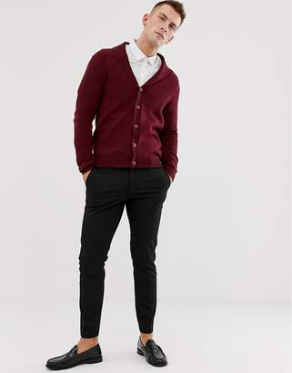 Asos DESIGN lambswool shawl cardigan in burgundy