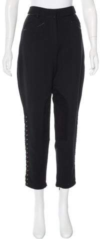 Emilio Pucci Leather-Accented Wool Pants w/ Tags