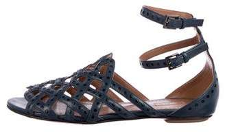 Alaia Leather Ankle-Strap Sandals