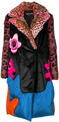 Tom Ford oversized flower motif fur coat