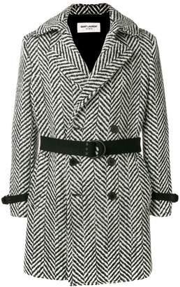 Saint Laurent Belted Wool Chevron Coat