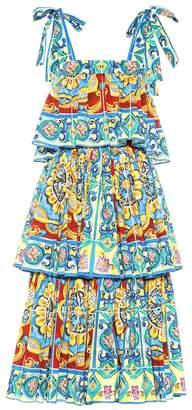 4348a224 Dolce & Gabbana Tiered printed stretch cotton dress