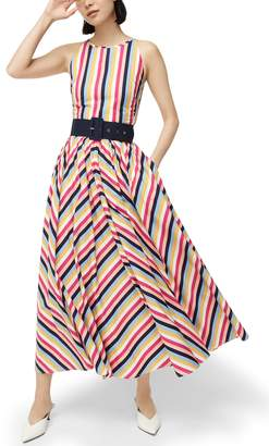 J.Crew Rainbow Stripe High Neck Belted Cotton Poplin Dress