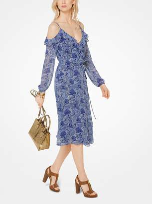 MICHAEL Michael Kors Paisley Georgette Peekaboo Wrap Dress