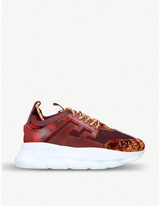 Versace Chain Reaction mesh and velvet trainers