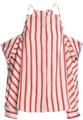CHRISTOPHER ESBER Cold-Shoulder Striped Woven Top