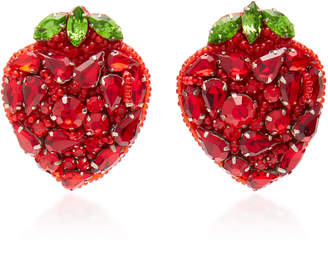 Deepa Gurnani Strawberry Crystal Clip Earrings