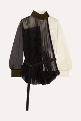 Sacai Wool-trimmed Paneled Pleated Chiffon And Crepe Shirt - Black