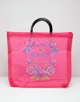 Asos DESIGN printed mesh shopper