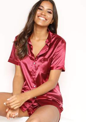 8d48041dd54 Missy Empire Missyempire Emma Wine Satin Button Up Pyjama Set