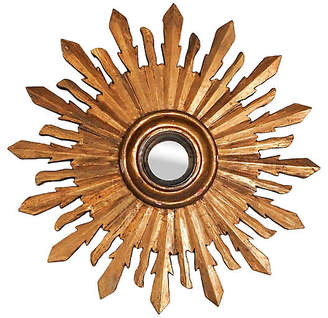 One Kings Lane Vintage Carved Giltwood Sunburst Convex Mirror - Artifax Antiques