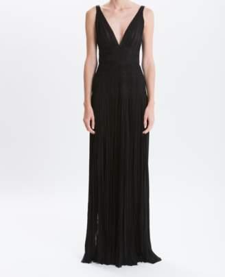 J. Mendel Noir Mousseline Pleated Gown