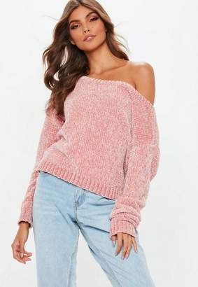 Missguided Pink Off the Shoulder Chenille Sweater