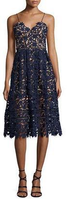 Self-Portrait Azaelea Guipure-Lace Illusion Dress, Navy $480 thestylecure.com