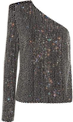 Saint Laurent One-shoulder Crystal-embellished Velvet Top - Black