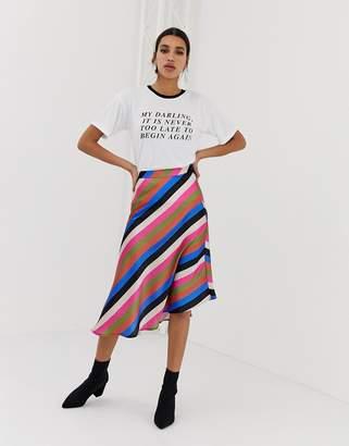 1f2f6a46da Neon Rose asymmetric midi skirt in luxe stripe