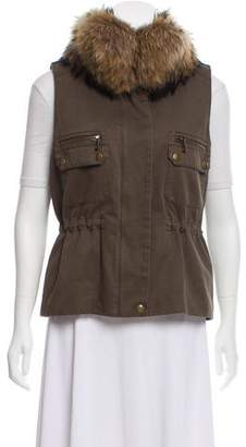 Yves Salomon Army by Fur-Trimmed Military Vest