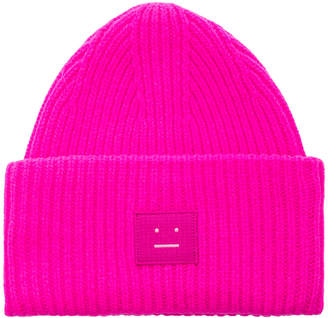 Acne Studios Pansy Face Beanie in Bright Pink | FWRD