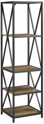 Walker Edison Metal X Tower With Wood Shelves