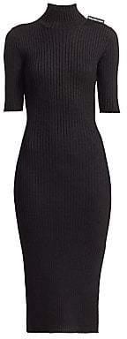 Balenciaga Women's Fitted Rib-Knit Turtleneck Dress