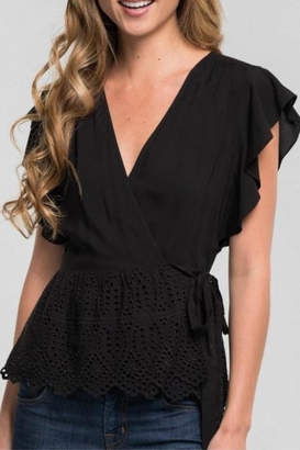 Love Stitch Ruffle Wrap Top