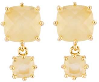 Les Nereides La Diamantine 2 Citrine Yellow Square Stones Earrings - Yellow