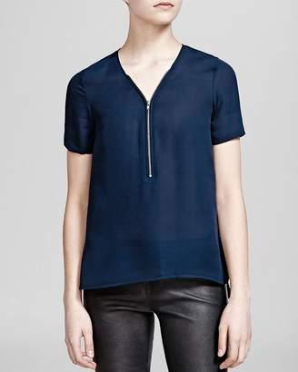 The Kooples Top - Silk Short Sleeve Zip Front