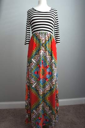 Flamingo Stripes-Boho Maxi-Dress