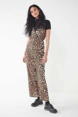 Urban Outfitters Leopard Print Surplice Jumpsuit
