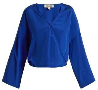 Diane Von Furstenberg - Crossover Front Silk Crepe De Chine Blouse - Womens - Blue