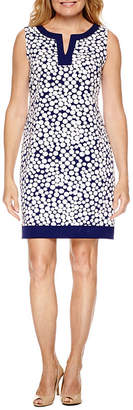 Studio 1 Sleeveless Dots Sheath Dress-Petite
