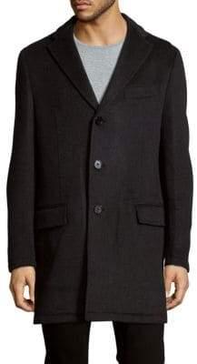 Saks Fifth Avenue BLACK Textured Topcoat