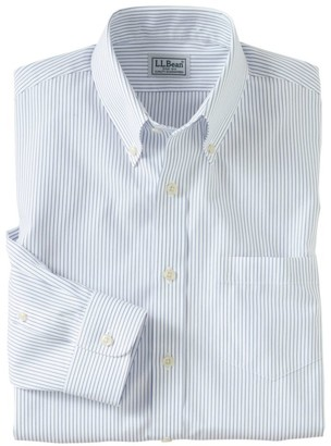 L.L. Bean L.L.Bean Men's Wrinkle-Free Pinpoint Oxford Cloth Shirt, Slim Fit Stripe