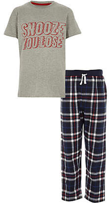 River Island Boys grey 'snooze you lose' pajama set