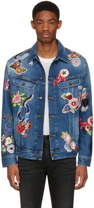 Saint Laurent Blue Denim Love Patch Jacket $3,490 thestylecure.com