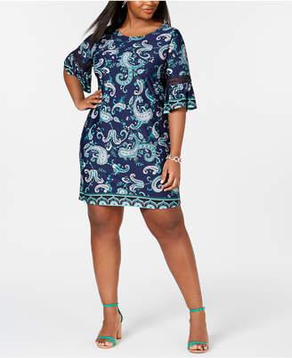 54b0c0b8f4b NY Collection Plus   Petite Plus Size Border-Print Bell-Sleeve Dress