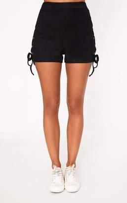 PrettyLittleThing Black Ribbed Lace Up Shorts