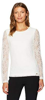 Calvin Klein Women's Long Lace Top with Sheer Sleeves