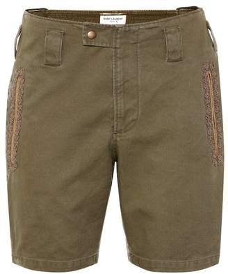 02681e57ea734 Saint Laurent Embroidered cotton-blend shorts