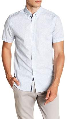 Report Collection Wave Print Short Sleeve Slim Fit Shirt