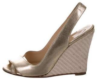 Christian Louboutin Metallic Slingback Wedges