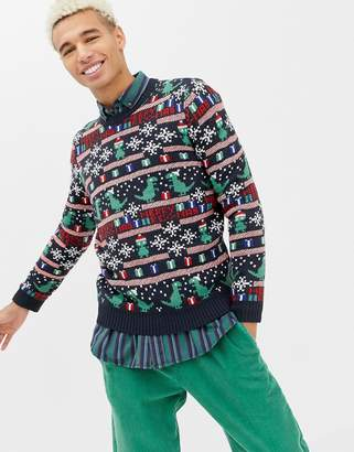 ONLY & SONS christmas sweater with novelty fairisle